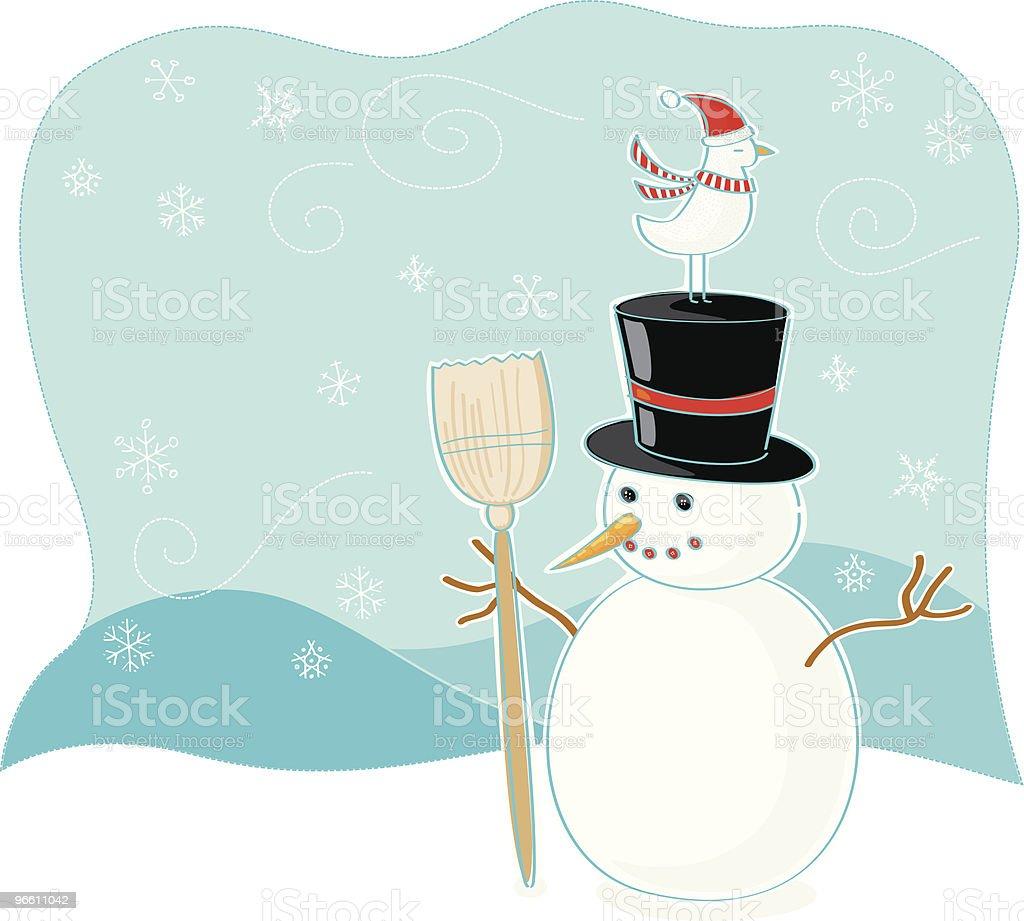 Bird and snowman winter scene - Royaltyfri Dag vektorgrafik