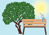 Bird, bench and a tree