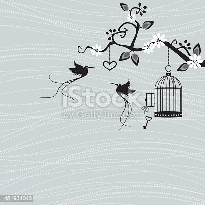 Two little bird fly from an unlocked birdcage.