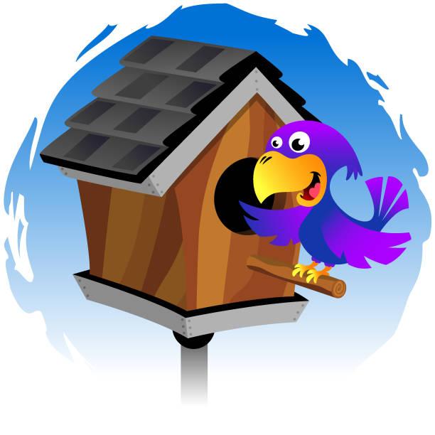 Bird Birdhouse vector art illustration
