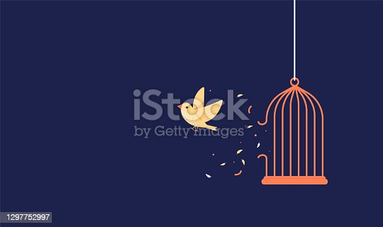 istock Bird breaking out of cage to gain freedom 1297752997