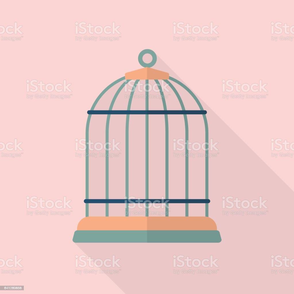 Bird cage flat icon vector art illustration