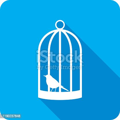 Vector illustration of a blue bird cage with bird icon in flat style.