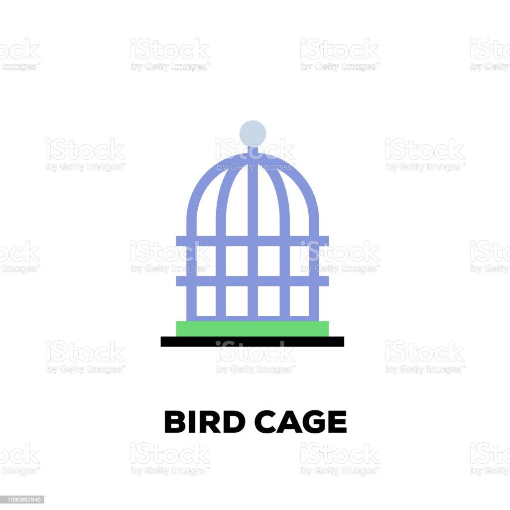Bird Cage Line Icon vector art illustration