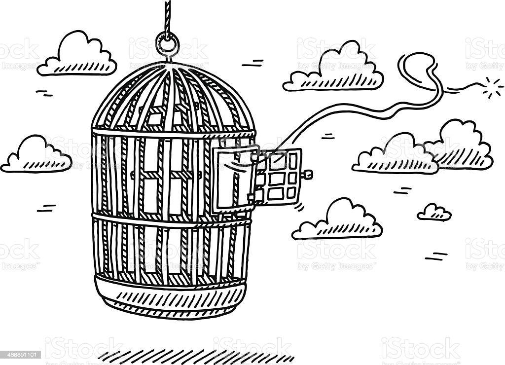 Bird Cage Open Door Freedom Drawing vector art illustration