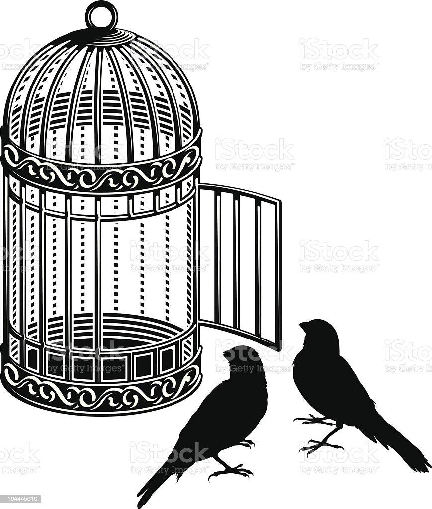 Bird cage vector art illustration