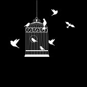 bird cage with birds flying silhouette vector illustration