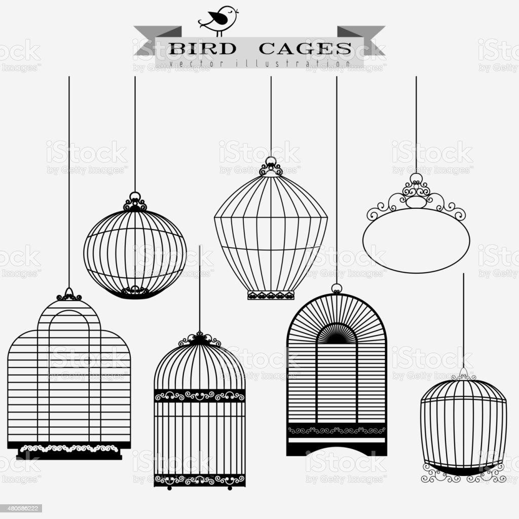 Bird cages set vector art illustration