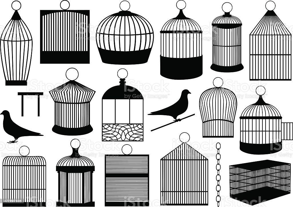 Bird cages vector art illustration