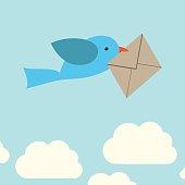 Bird carrying envelope