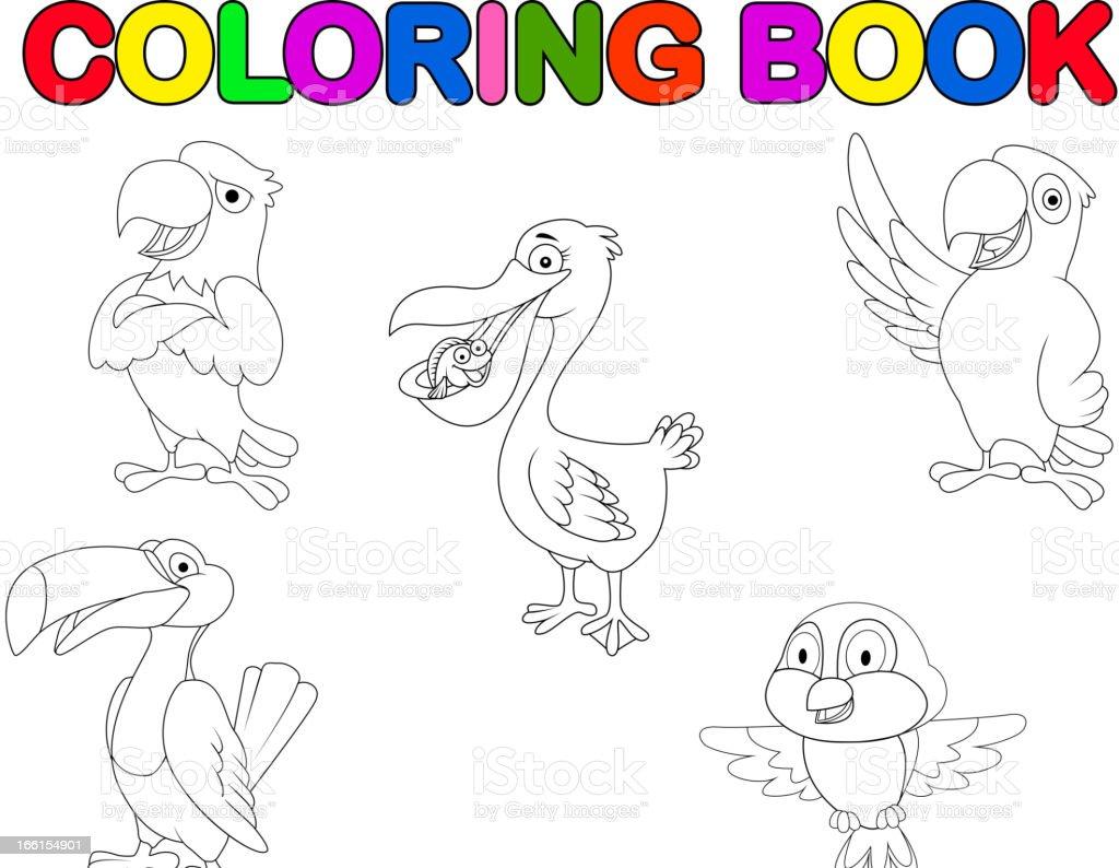 Colección De Dibujos Animados De Aves Libro Para Colorear - Arte ...