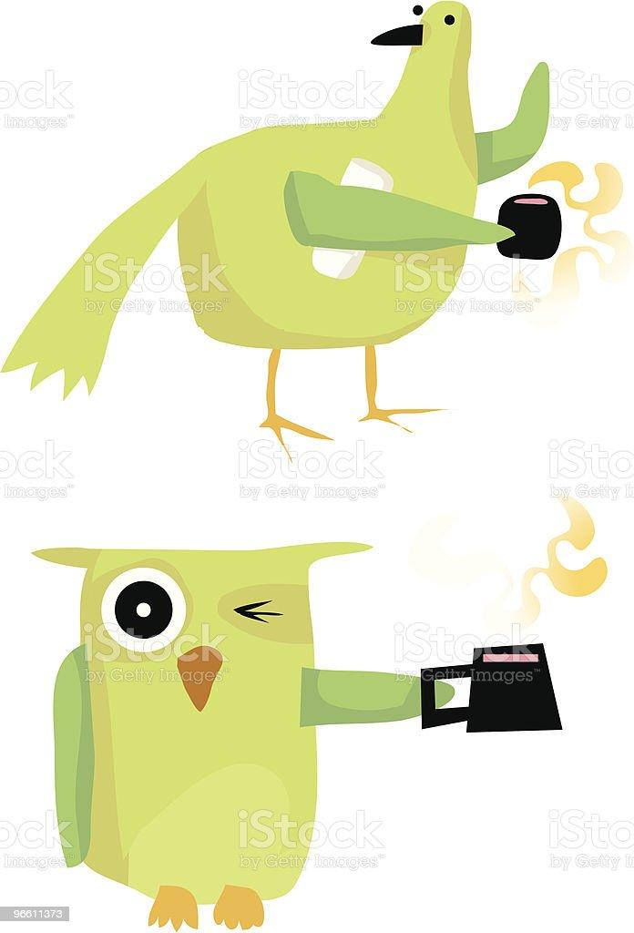 Coruja de pássaro com Jornal de chá de Café - Royalty-free Acordar arte vetorial