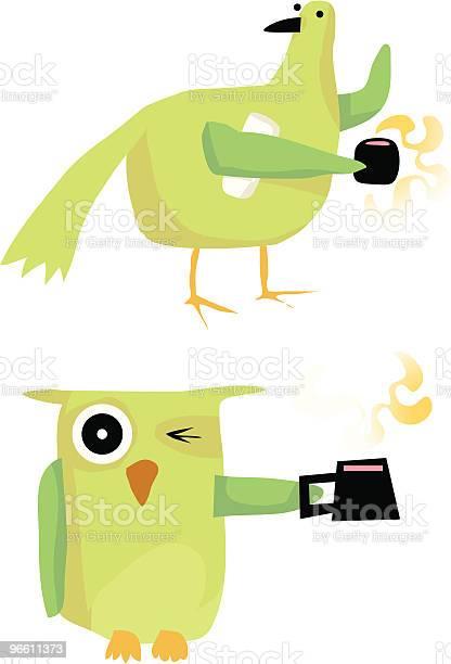Coruja De Pássaro Com Jornal De Chá De Café - Arte vetorial de stock e mais imagens de Acordar