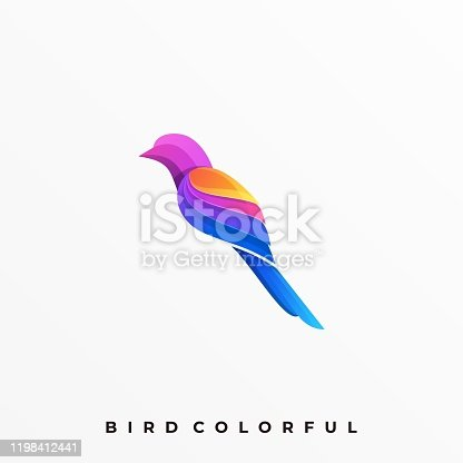 Bird Colorful Illustration Vector Template. Suitable for Creative Industry, Multimedia, entertainment, Educations, Shop, and any related business.