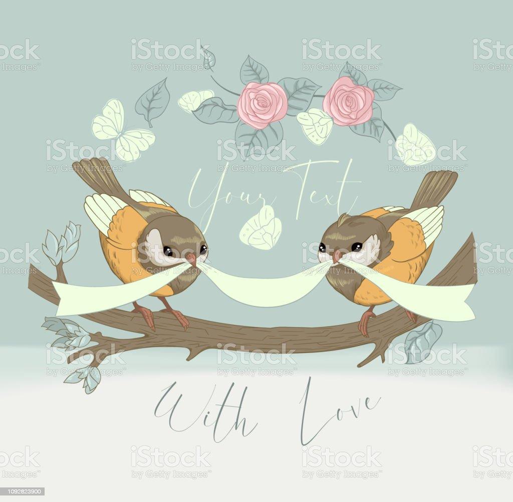 Ilustracion De Tarjeta Linda De La Pareja De Pajaro Con Flores