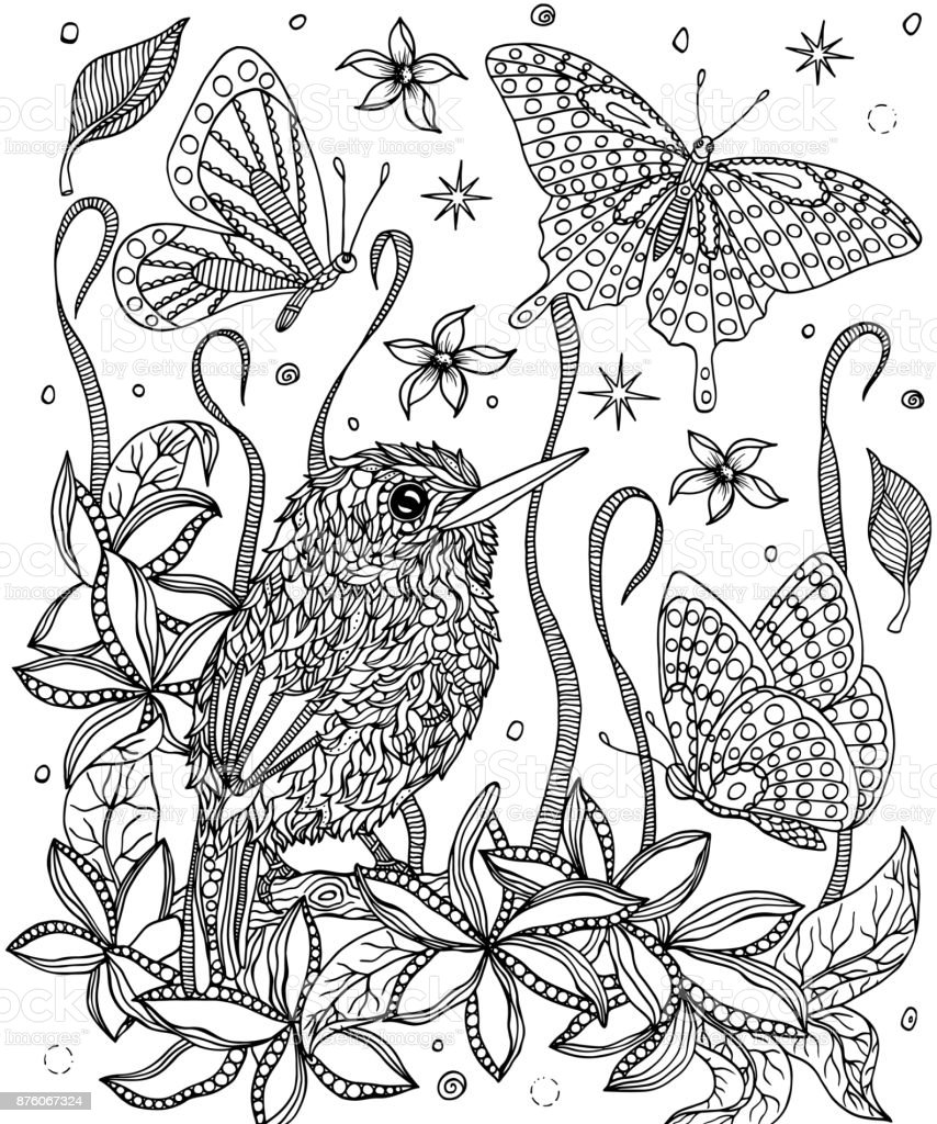 Bird Cuban Tody And Flowers Coloring Page Royalty Free