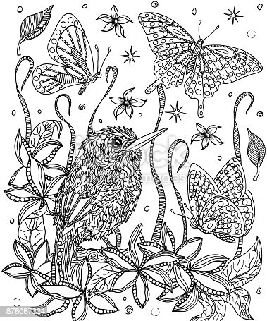Bird Cuban Tody And Flowers Coloring Page Stock Vector Art More Images Of Adult 876067324