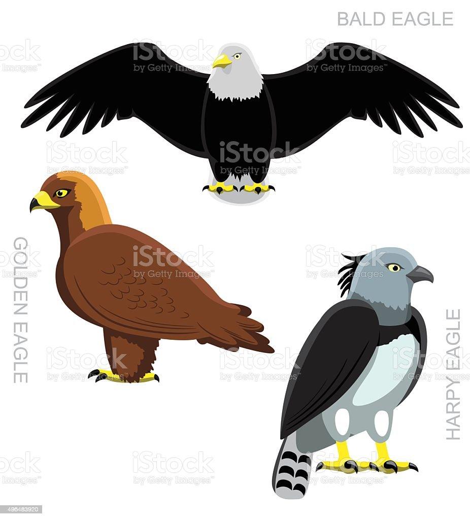 Pájaro águila conjunto de ilustración vectorial de dibujos animados - ilustración de arte vectorial