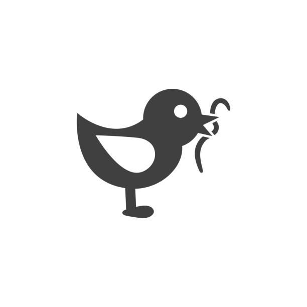 bird eating worm icon on the white background bird eating worm icon worm stock illustrations