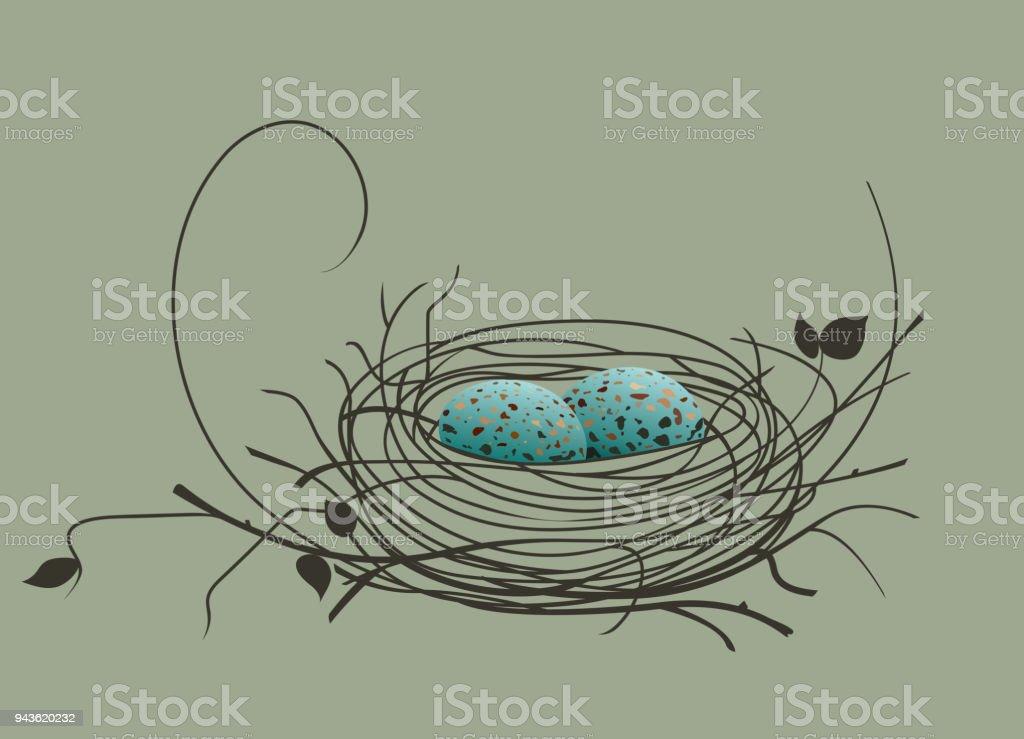 Bird eggs in the nest vector art illustration