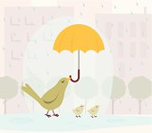 Retro styled illustration of a mother bird holding an umbrella to shield her chicks from the rain as they walk through an urban area.