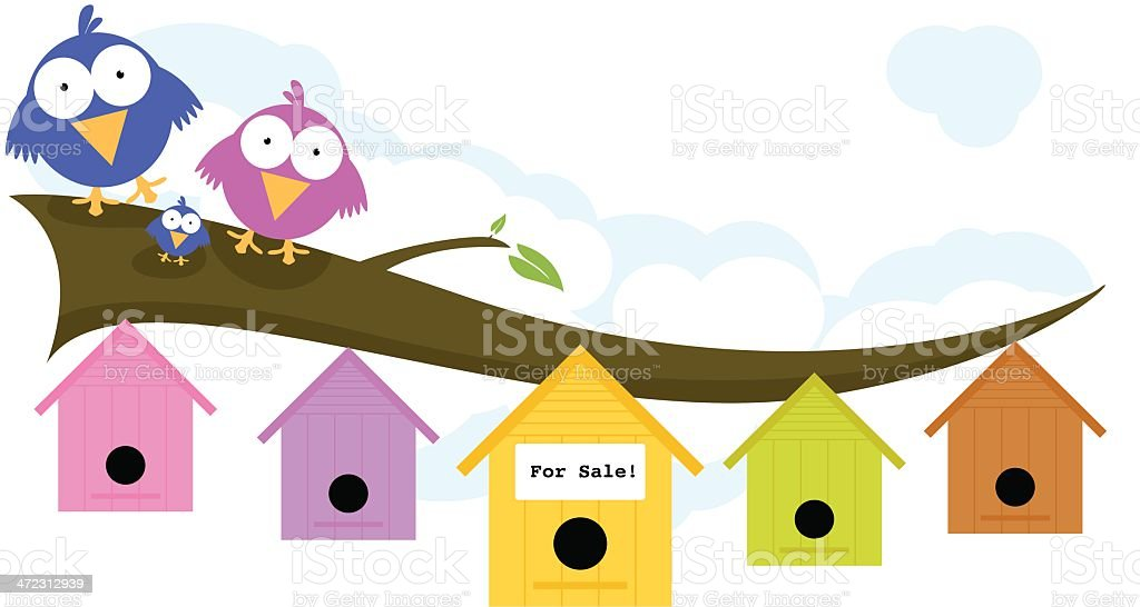 Bird Family Looking For a New House vector art illustration