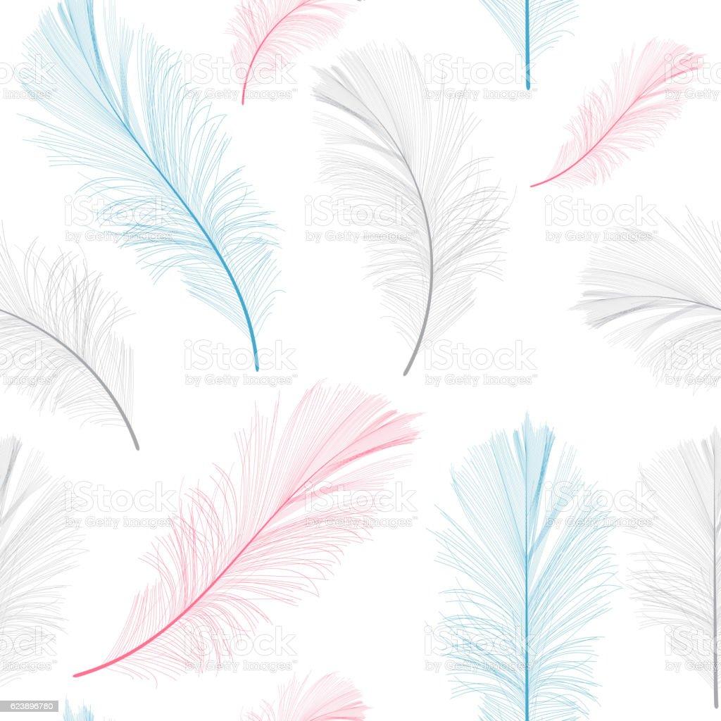 Penas de aves desenhado à mão fundo perfeito de padrão Vector Illus - ilustração de arte em vetor