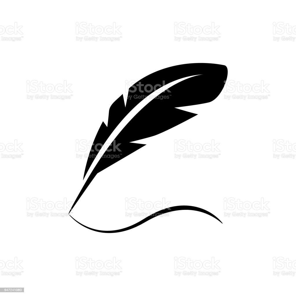 Ilustración De Pluma De Ave De Aves Escribir En Papel Vector Icono
