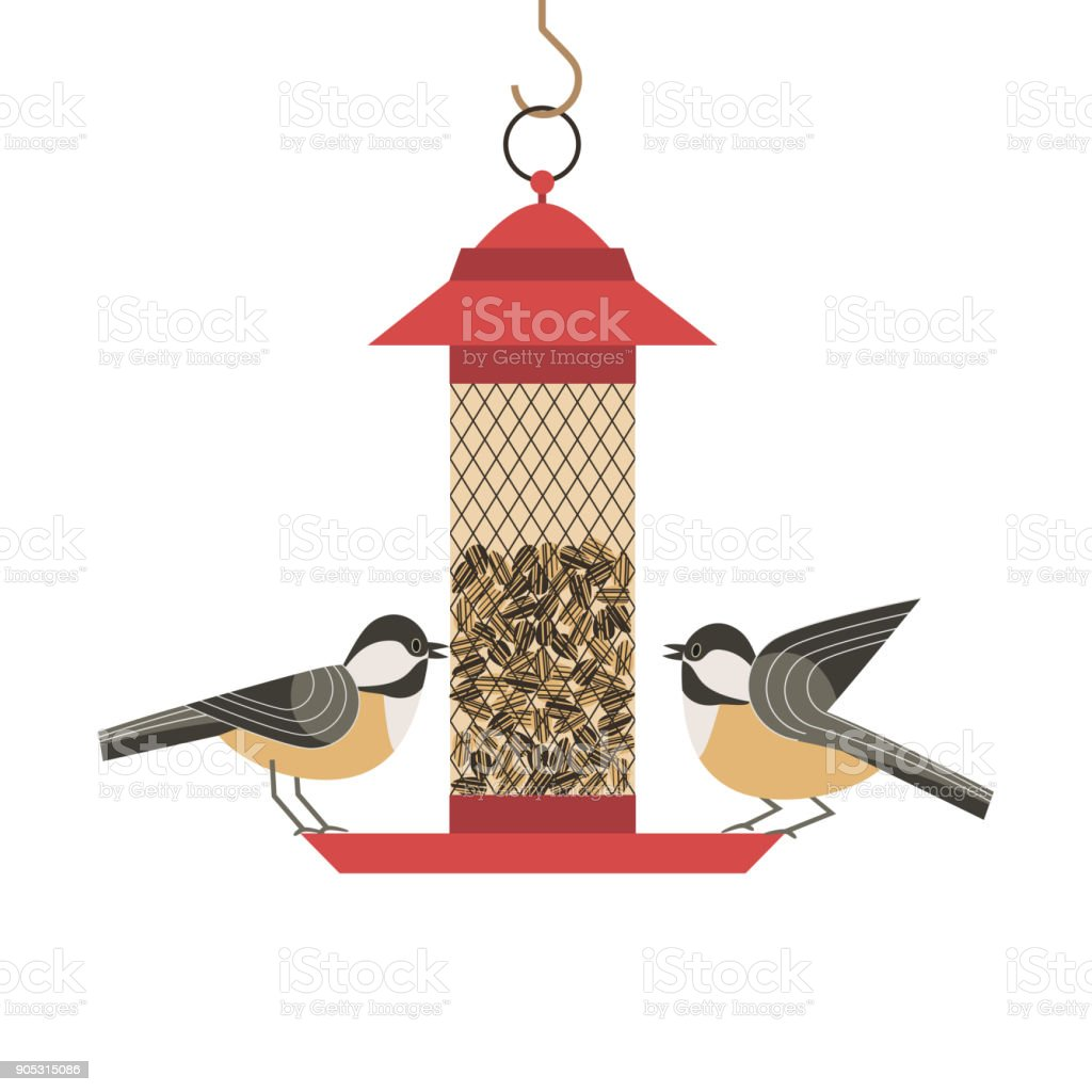 Bird feeding poster vector art illustration