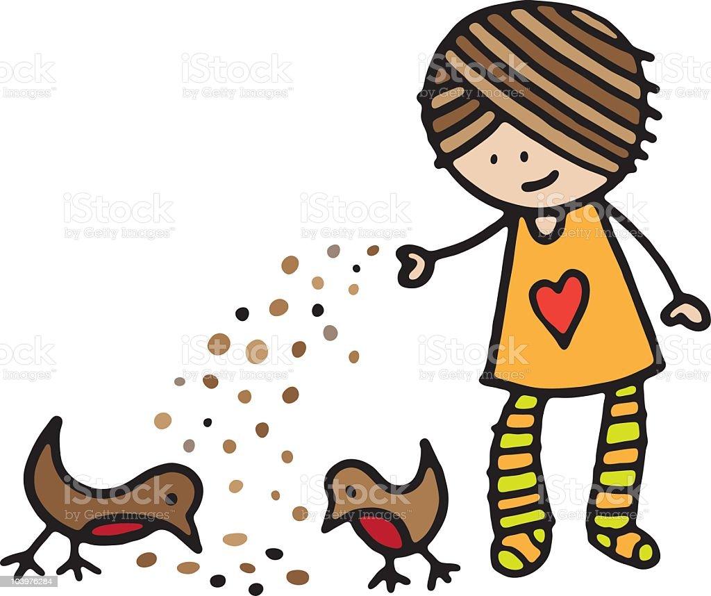 Bird feeding royalty-free stock vector art