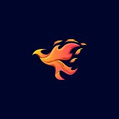 Bird Fire Illustration Vector Template. Suitable for Creative Industry, Multimedia, entertainment, Educations, Shop, and any related business.