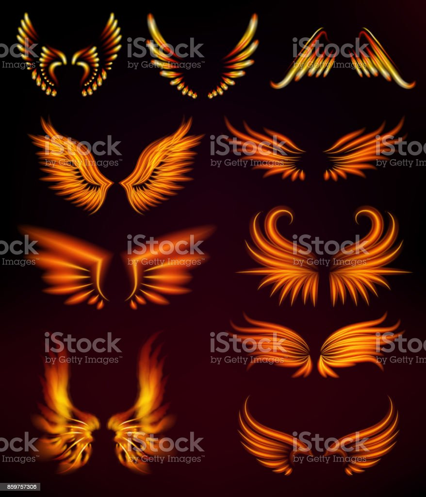 Fuego de aves alas de fantasía pluma ardiente resplandor místico mosca ardiente quemadura caliente arte vector ilustración en negro - ilustración de arte vectorial