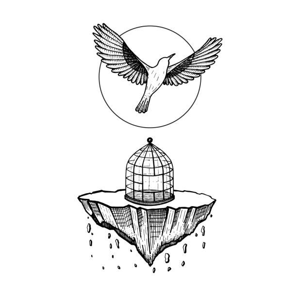 illustrations, cliparts, dessins animés et icônes de oiseau de cage. le monde s'effondre. pierre tombe. oiseau mouche au ciel. illustration de vecteur. dessin à la main. conception de tatouage. symbole de la liberté, la vie, paix, la dernière fois, jamais voir. - dessin cage a oiseaux