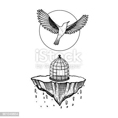 Oiseau de cage le monde seffondre pierre tombe oiseau mouche au ciel illustration de vecteur - Oiseau mouche dessin ...