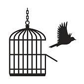 Freed bird flying from open birdcage vector Illustration