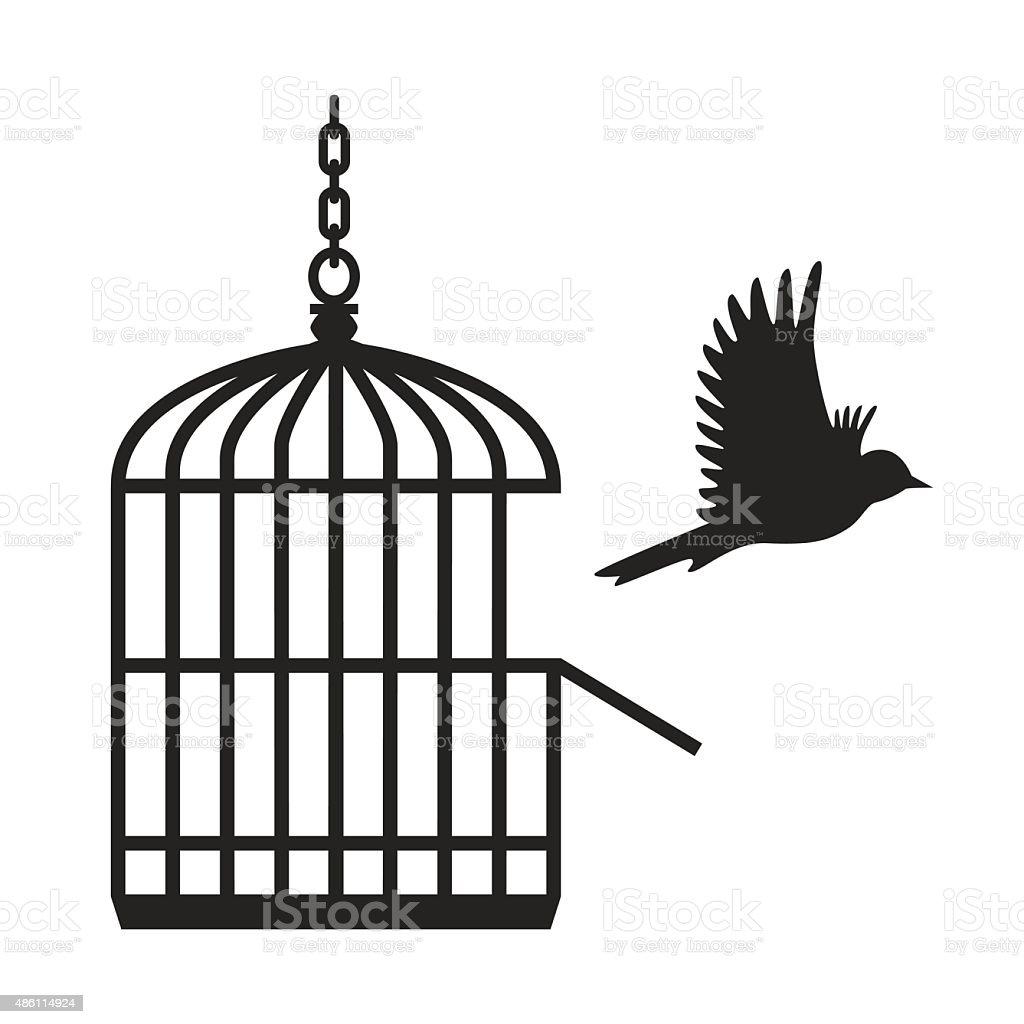 Bird flying from open birdcage - VECTOR vector art illustration
