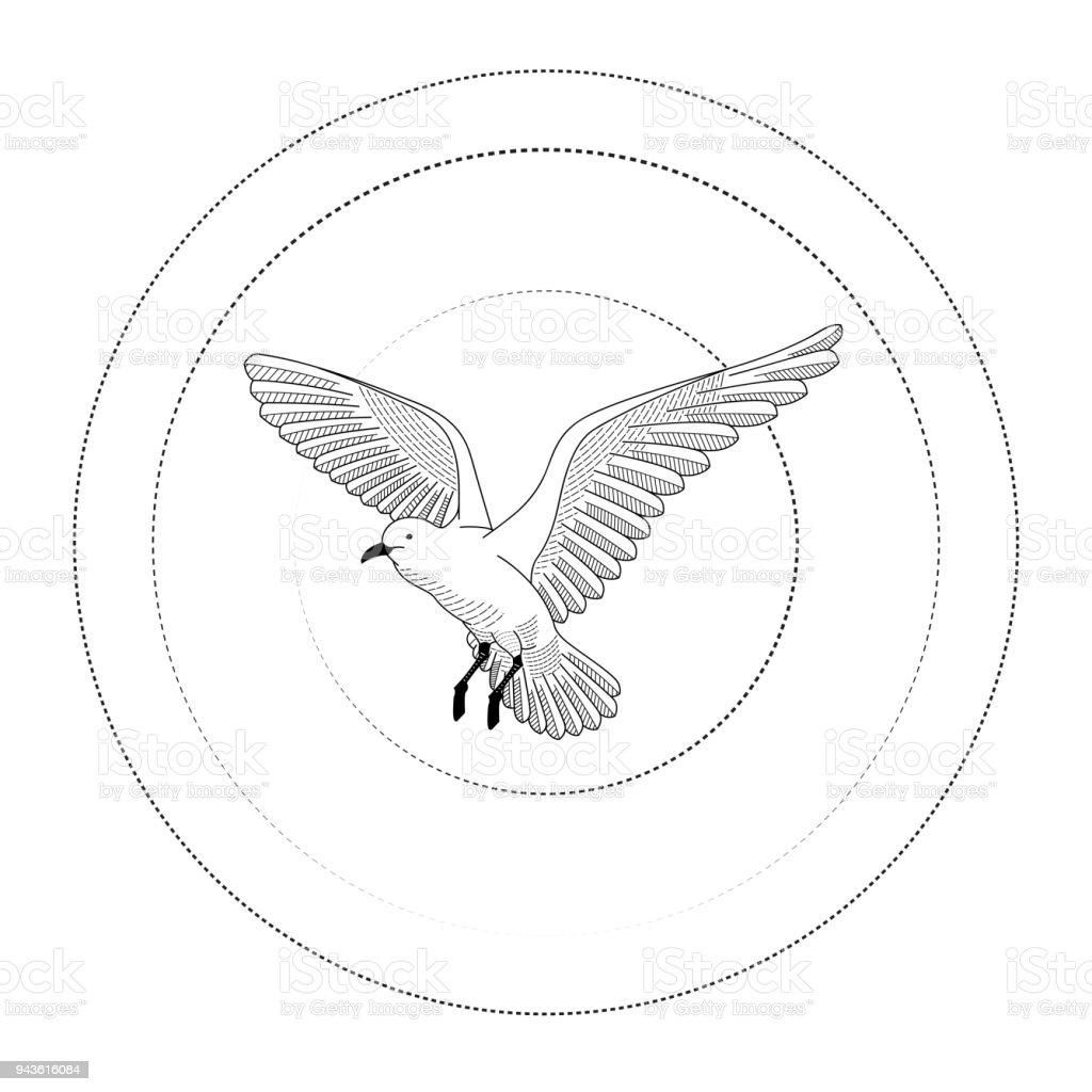 Oiseau Qui Vole Illustration De Vecteur Dessin Dessin Au