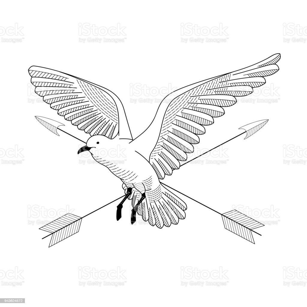 Oiseau Qui Vole Illustration De Vecteur Dessin Dessin Au Trait De