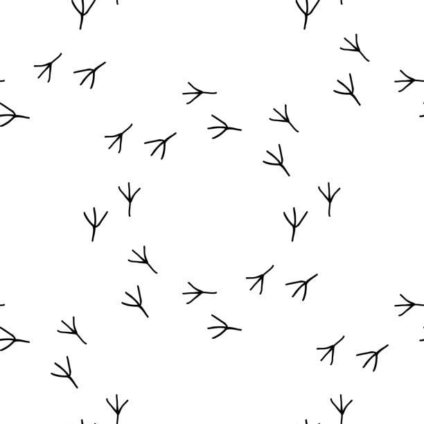 Bird foot prints vector. Seamless pattern footprint. Bird foot prints vector illustration. Seamless pattern background footprint. chicken bird stock illustrations