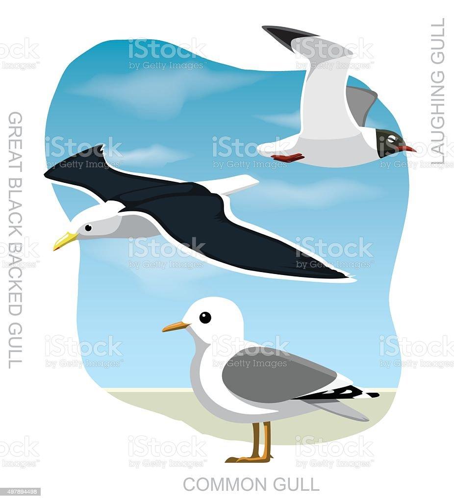 Bird Gull Set Cartoon Vector Illustration vector art illustration