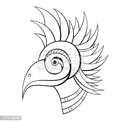 Bird head, isolated on white background. Abstract style. Vector monochrome illustration.