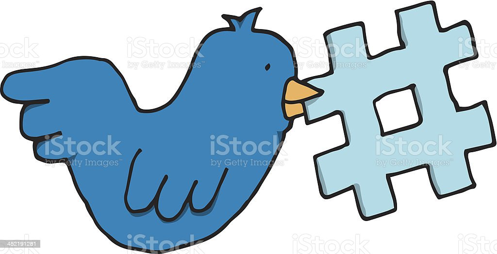 Bird holding a social network tag topic royalty-free stock vector art