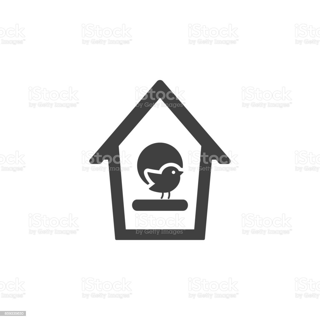 bird home icon on the white background vector art illustration