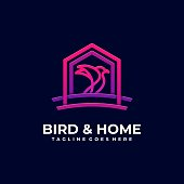 Bird & Home Illustration Vector Template. Suitable for Creative Industry, Multimedia, entertainment, Educations, Shop, and any related business.