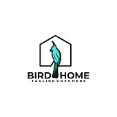 Bird Home Illustration Vector Template. Suitable for Creative Industry, Multimedia, entertainment, Educations, Shop, and any related business.