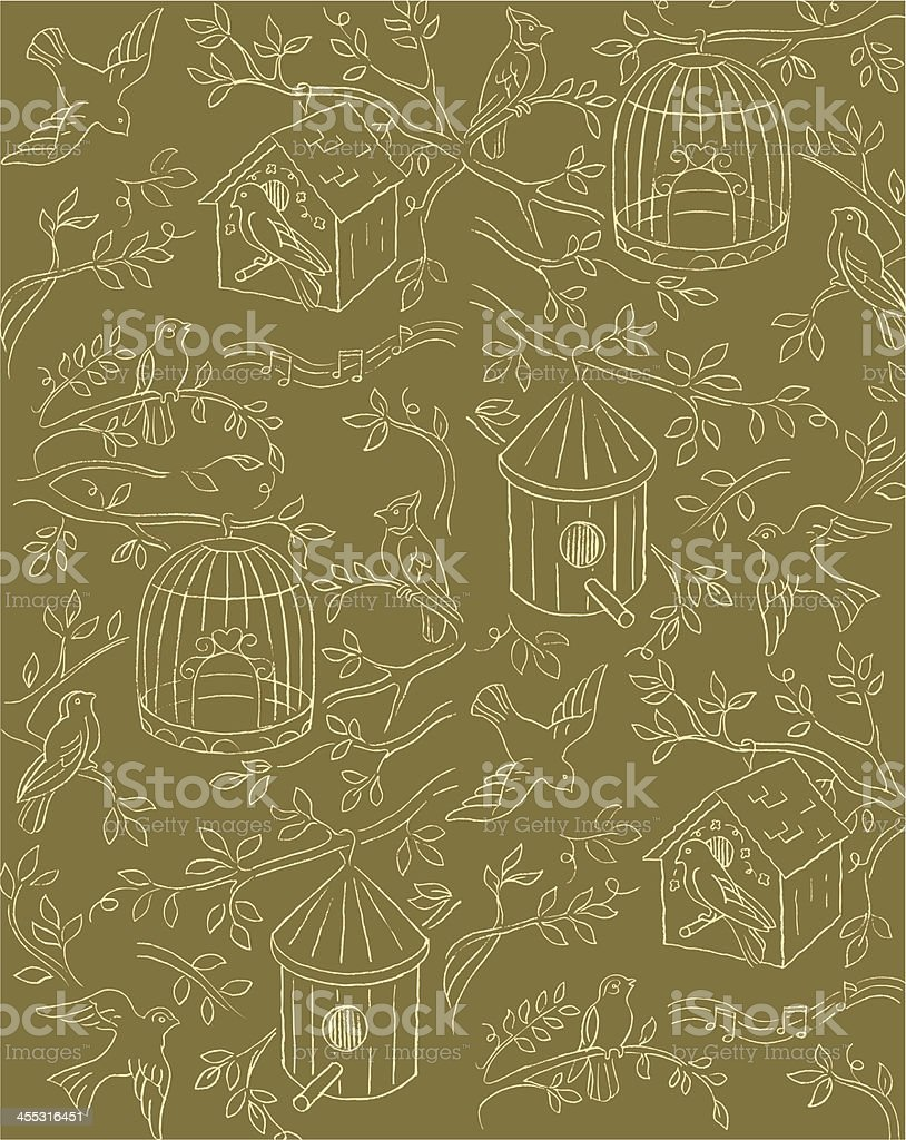Bird House Background Design with Musical Notes royalty-free stock vector art