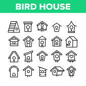 Bird House Collection Elements Icons Set Vector Thin Line. Different Style Wooden Bird House, Shelter For Nestling On Tree Concept Linear Pictograms. Monochrome Contour Illustrations