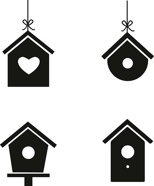 Bird house icon set vector art illustration