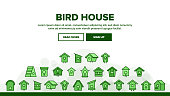 Birdhouses. Set of color icons in flat style on white background. Vector illustration.