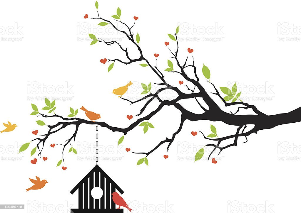 bird house on spring tree royalty-free bird house on spring tree stock vector art & more images of animal